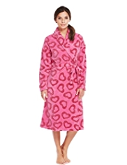 Shawl Collar Heart Print Burnout Dressing Gown