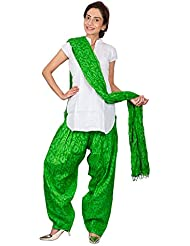 Womens Cottage ForestGreen Leaf Printed Cotton Semi Patiala & Cotton Dupatta With Beads