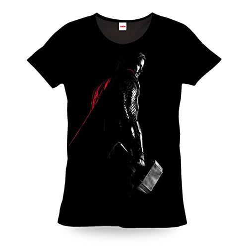 Thor - T-shirt Marvel con motivo di Thor Dark World - Grande foto stampa del super eroe - Licenza ufficiale - Cotone nero - XXL