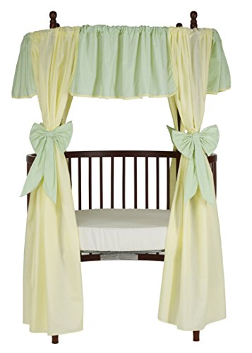 Baby Doll Reversible Round Crib Curtains, Mint/Yellow