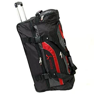 Sirocco Large 28 Inch Split Level Cargo Roller Bag (Black/Red) from Sirocco