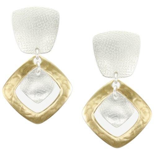 Marjorie Baer Diamond Frame Clip on Earring in Bra…