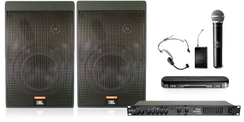 Wireless Conference Room Sound System 2 Two Way Monitors, Mixer Amplifier, Dual Mic Wireless System