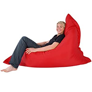Hi-BagZ® 4-Way Bean Bag Lounger - GIANT Outdoor Floor Cushion Bean Bags RED - 100% Water Resistant Beanbag