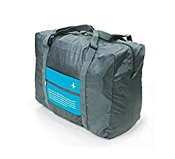 Di Grazia Foldable Waterproof Large Capacity Travel Cabin Luggage bag;Duffel Rucksack with Trolley Jacket - Blue