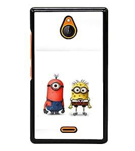 printtech Minions Spongebob cross Back Case Cover for Nokia X2 RM-1013, Nokia X2DS