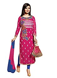 Zombom Pink Cotton Embroidered Semi Stitched Dress Material
