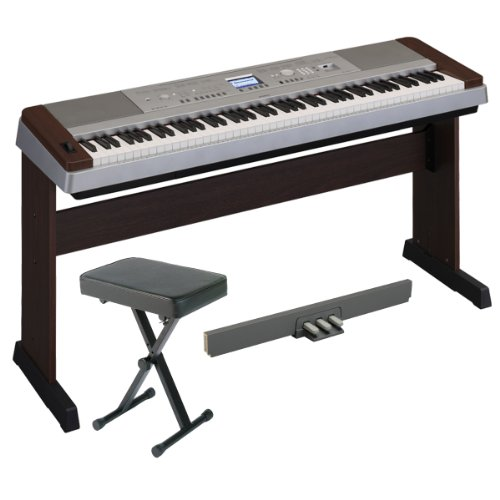 Yamaha DGX640W Portable Grand Digital Piano Walnut Color with LP7A 3 Pedal Unit and Piano Bench