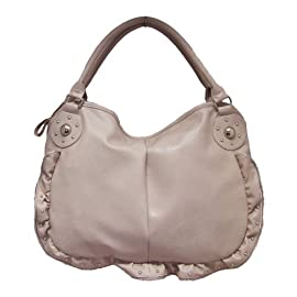 Large Zip Frill Fashion Shoulder Bag Nude Pink