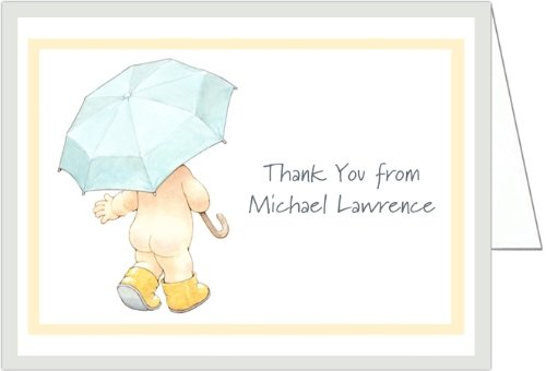 Umbrella and Rain Booty Baby Thank You Cards - Set of 20