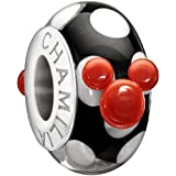 New Authentic Chamilia Disney - Mickey Silhouette - Black & White Murano Charm Bead 2110-1140 Gift Boxed