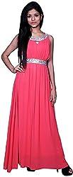 Trendz Today Women's Long Gown (GT13, Beige, Large)