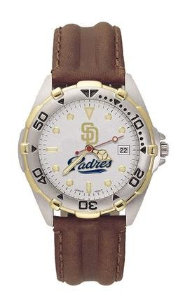 San Diego Padres MLB All Star Watch with Leather Band - Mens by Logo Art