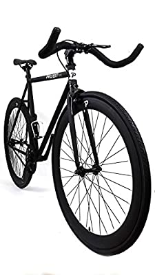 Projekt Fixie - Stealth Fixed Gear City Bike with Pursuit Bullhorn Handlebar - Black or Silver