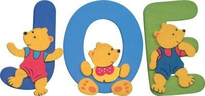 Wooden teddy bear name set JOE
