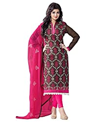Surat Tex Brown Color Party Wear Embroidered Chanderi Un-Stitched Dress Material-H957DL9407