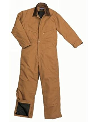 Walls Mens Zero Zone Mid Weight Duck Insulated Waist Zip Coveralls Brown 4X Tall by Zero Zone