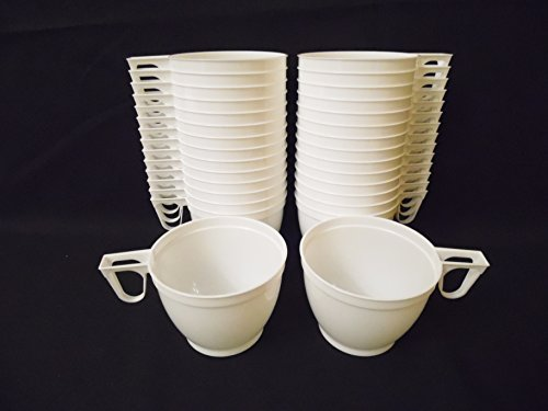 Set of 30 Plastic White Coffee / Tea Mugs Cups for Party Supplies 6 Oz (170ml) New