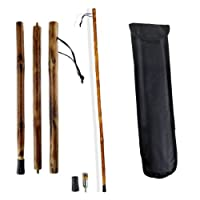 "55"" 3-Section Natural Wood Walking Hiking Stick - Disassembles to 18"" Length for Easy Pack & Carry - Includes Backpack Pouch - Two Tips by Natural Walking Sticks"