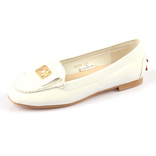 iloveflat Women's Ballet Flats Casual Soft Slip-On Loafer Shoes New 2 Colors White, Beige