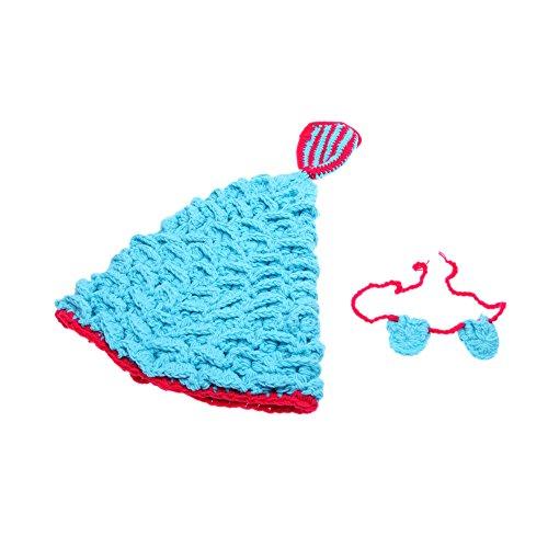 Andoer Baby-Kind Meerjungfrau Blau Crochet Knitting Kostüm Weiche Entzückende Kleidung Foto Fotografie Props für 0-6 Monate Neugeborene