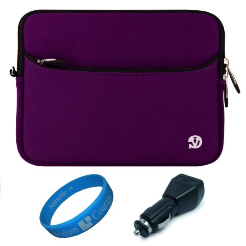 "Plum Purple Vg Neoprene Sleeve Cover For Barnes & Noble Nook Hd+ Slate 9"" Tablet (16Gb 32Gb) + Black Usb Car Charger + Sumaclife Tm Wisdom Courage Wristband front-931107"