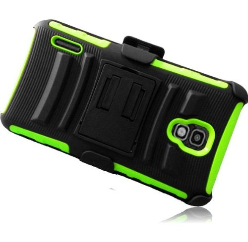 Lite Green Premium Double Protection 2 in 1 Hard + Silicon Rugged Hybrid D-Fendr Case Cover Protector with Holster Swivel Belt Clip and KickStand for LG Optimus F7 US780 (by Boost Mobile / US Cellular) with Free Gift Reliable Accessory Pen (Boost Mobile Phone Lg F7 compare prices)