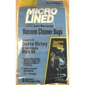 Micro Lined Anti-Bacterial Vacuum Cleaner Bags: Style Aa, 3-Pack