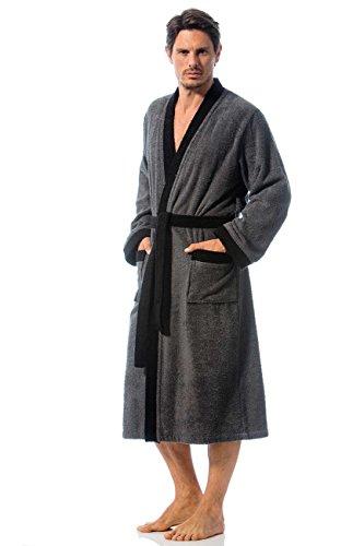 Bademantel mit Kimonokragen, Frottee, Herren, anthrazit, Größen S-5XL verfügbar, Modell Toledo von Morgenstern (S)