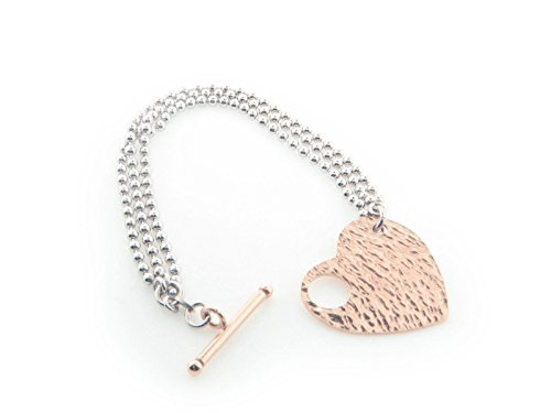 Milan 925 Sterling Silver Hammered Bronze Heart and Pull Through Lock Bracelet 7