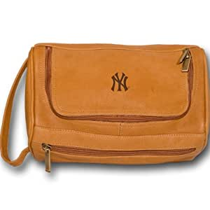 MLB New York Yankees Tan Leather Shaving Kit