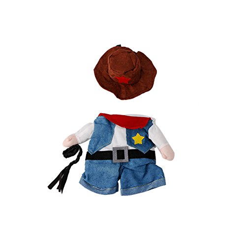 Delight eShop Funny Pet Costume Dog Cat Costume Clothes Dress Apparel Doctor Policeman Cowboy (M)