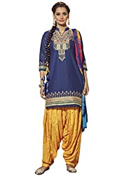 Kvsfab Blue & Yellow Pure Cotton embroiderd dress Material(patiala un-stitched_KVSSK7855PA_44)