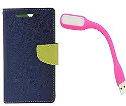 Novo Style Book Style Folio Wallet Case Samsung GalaxyJ7 Blue + Mini USB LED Light Adjust Angle / bendable Portable Flexible USB Light