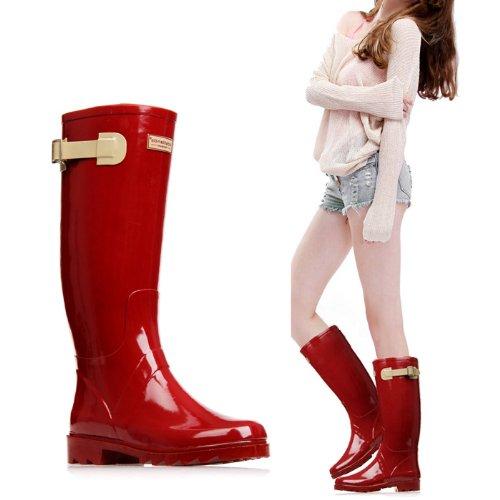 Zlyc Women's Knee High Rain Boots Galoshes 100