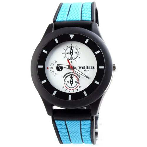 Weijieer Army Military Rubber Jelly Men Sport Quartz Wrist Watch Blue Band