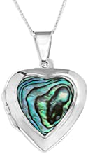 Ornami Sterling Silver and Abalone Heart Locket on Chain of 46cm