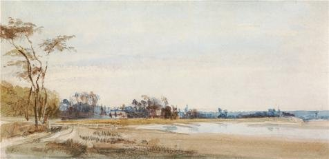 Oil Painting 'The Salt Marshes Near Trouville, 1826 By Richard Parkes Bonington' 30 x 62 inch / 76 x 157 cm , on High Definition HD canvas prints, gifts for Dining Room, Game Room And Living R decor (Social Development Parke compare prices)
