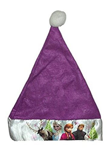 "Disney Frozen Kids 16"" Felt Christmas Santa Hat with Satin Cuff - Purple"