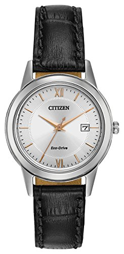 Citizen Watch women's Eco Drive Watch with silver Dial analogue Display and black leather Strap FE1086-04A