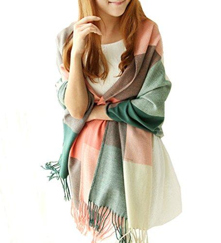 Mujeres Señora largo espesado Plaid cachemira suave mantón de la bufanda de cuello del abrigo Pañuelo