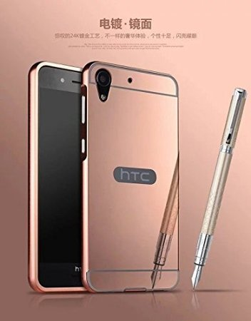 D-kandy Luxury Metal Bumper + Acrylic Mirror Back Cover Case For HTC DESIRE 728 - ROSE GOLD