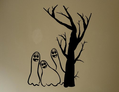 Halloween Decoration Wall Decals Three ghosts with tree