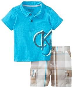 Calvin Klein Baby-Boys born Polo with Plaided Cargo Short by Calvin Klein
