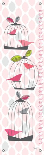 Oopsy Daisy Growth Charts Modern Birdcage by Stacy Amoo Mensah, 12 by 42-Inch