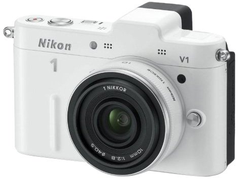 Nikon 1 V1 Compact System Camera with 10mm Lens Kit - White (10.1MP) 3 inch LCD