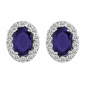 18K White Gold Oval Blue Sapphire and Diamond Earrings (1 cttw, F-G, VS)
