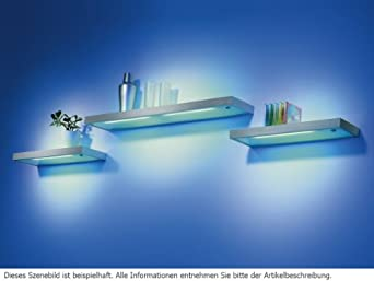 Thebo e 8000 19877 led glasbodenleuchte aluminium wandregal glasbodenregal beleuchtung - Wandboard mit beleuchtung ...