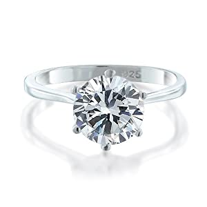 Bling Jewelry 925 Sterling Silver Round CZ Solitaire Engagement Ring - Size 8