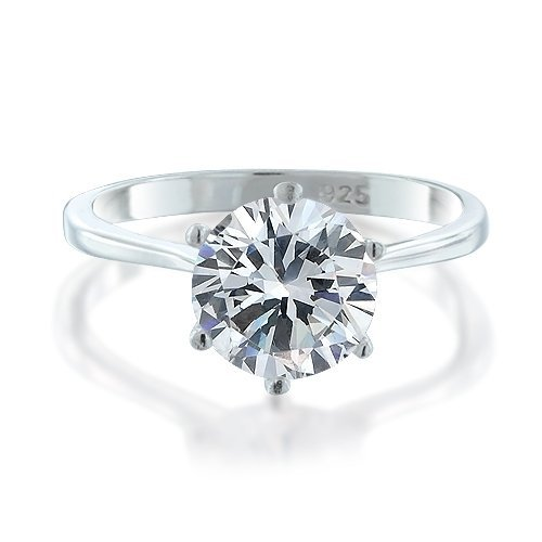Bling Jewelry 925 Sterling Silver Round CZ Solitaire Engagement Ring